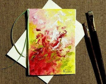 Original art 5x7 Art card Hand painted card Abstract oil painting Colorful art card Abstract greeting card Hand made card Pink birthday card