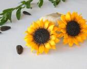 Sunflower earrings yellow flower earrings polymer clay jewelry gift for her wedding jewelry sunflower jewelry bridesmaid jewelry Bridal ring