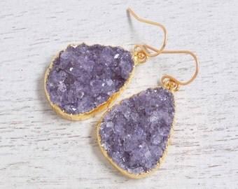 Amethyst Earrings, Amethyst Druzy Earrings, Amethyst Crystal Drop, Large Purple Earrings, Purple Gemstone Earrings, Dangle Clip-on, R2-42