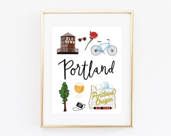 Portland Oregon Art Print, Illustrated Portland Decor, Portland Gift, Wall Art