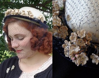 Charming Navy and White Bonnet with Light Pink Millinery Flower Bunches, Navy Birdcage Netting Veil - Vintage 1940's, 1950's Two-Tone Hat
