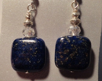 Blue Lapis Earrings. Square Lapis.  Earring with crystal accent.