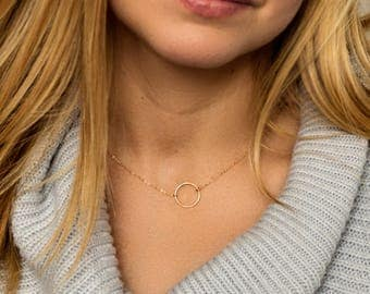 Open circle necklace - Karma eternity ring - 14k gold fill or sterling silver - dainty gold necklace