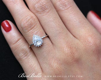 0.93 ct.tw Pear Halo Engagement Ring-Pear Cut Diamond simulant-Bridal Ring-Wedding Ring-Solid Sterling Silver [6654]