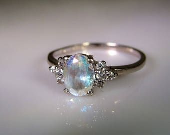 10K White Gold Ring, Topaz White Gold Ring, Topaz and CZ Ring, Classic Style Ring, Topaz Ring, Right Hand Ring, Vintage Ring, Topaz, Size 7