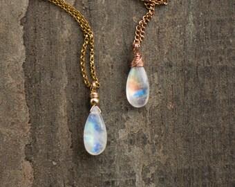 Moonstone Necklace, June Birthstone, Rainbow Moonstone Pendant, Real Moonstone Jewelry, Dainty Gemstone Jewellery, Gift for Her