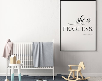 She is Fearless - Proverbs 31:25, Bible Verse, Biblical Quote, Printable Digital File, Christian Poster, PDF, JPG