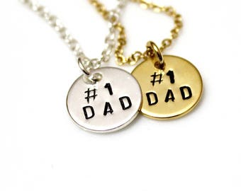 Number One Dad Necklace, Charm Necklace, Dad Jewelry Gold Father's Day Necklace, Silver Necklace, Father Necklace #1 Dad Gift Best Dad Gift