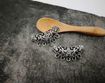 Bib half moon connector MULTISTRAND necklace, ethnic bib, silver - Metal Support 38 x 20 mm