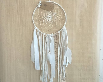 Dream catcher Bohemian and romantic lace and feathers-handmade