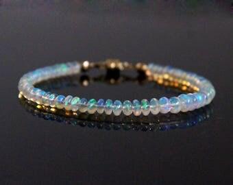 Opal Bead Bracelet - Natural Opal,  AAA Genuine Ethiopian Opal, Opal Bracelet, Fire Opal Bracelet, Opal Beaded Bracelet, Opal Jewelry