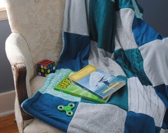 Boy blue quilt, sweater quilt, fleece lined blanket, upcycled quilt, lap blanket, boy room decor, reading nook