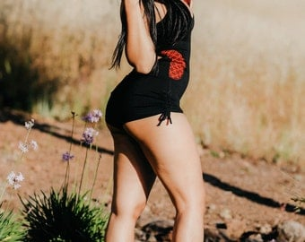 River Hooded Romper - Black with Red Flower of Life - Circus Playsuit Jumpsuit Cosplay Festival Burning Man Cute Assassin Onesey Jumper Sexy