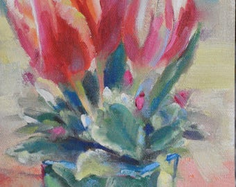Flower Oil Painting, Flower Still Life, Tulips, Tulip Oil, Small Oil Painting, small Paintings, Original Painting on Canvas Art Sue Whitney