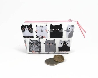 Cat Coin purse, Cute cat, Coin zipper purse, Cute coin purse, Coin pouch, Cute zipper pouch, Grey cat, Small zipper pouch, Small purse, Cats