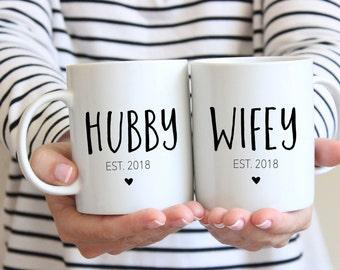 Hubby and Wifey Mug, Hubby Mug Wedding Gift, Mr and Mrs, Wedding Mugs, Custom Mugs, Bridal Shower Gift, Anniversary Gift