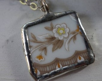 Fall colors necklace- broken china jewelry- broken china pendant necklace- flower necklace-  vintage china necklace-unique necklace