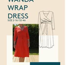 Jersey Wrap Dress PDF sewing pattern women /Kimono dress PDF digital pattern for sewing /women's faux wrap dress digital PDF pattern