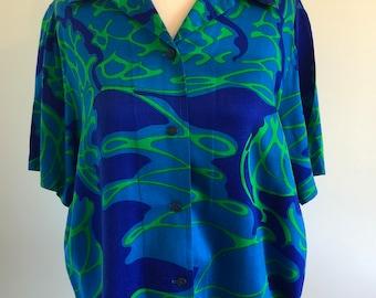 Blue and Green Men's Hawaiian Hawaii Aloha Shirt