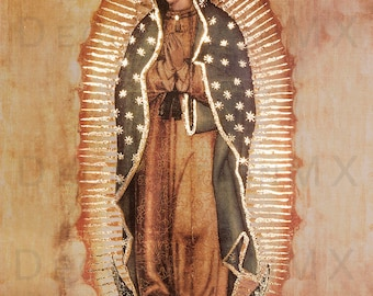 New! Copy of Original of Our Lady of Guadalupe Virgin Mary.  Religious Art Prints that glow