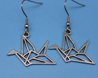 Origami Crane Earrings  Bird Earrings Silver Bird Earrings Bird Earrings Origami Crane Charm Bird Jewelry Bird Charm Origami Bird Gifts