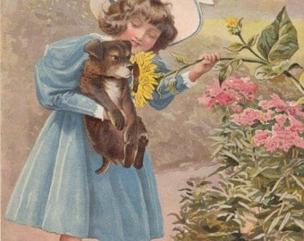 Victorian Girl Wearing Bonnet Holding Beloved Puppy Dog Smelling Scent From Sunflowers in Flower Garden Art Print Antique Lithograph 1898