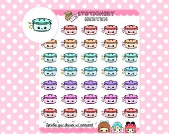 35 Kawaii Pastel Crockpots Planner Sticker | Perfect for any Planner (008A)