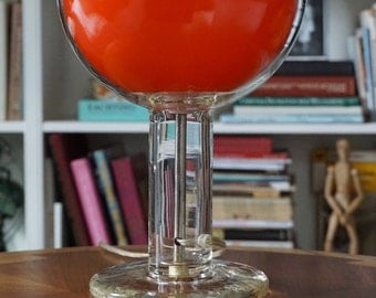 Danish Modern Glass Lamp/Orange Globe/Glass Base/Orange Glow