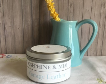 Vintage Leather - Hand poured Candle - Guy Candle - Natural Soy Wax Candle - Made in Michigan - Bergamot - Patchouli  - Unique Gift for Him