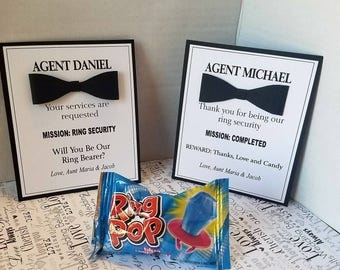 """4.25""""x5.25""""  Ring Bearer Proposal Card and Ring Pop