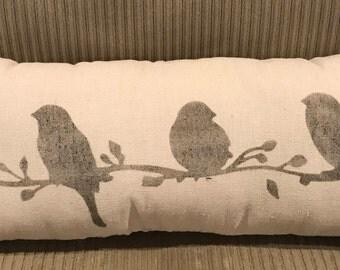 Birds Grain Sack Pillow