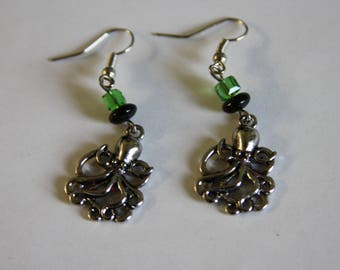 Lime Green Octopus Earrings