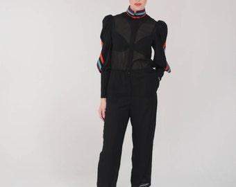 1970s Grace Jones Jumpsuit, Pockets and Mutton Sleeves, Late 70s early 80s, Chic Black Romper, Studio 54, Holiday Onesie, Small - Medium