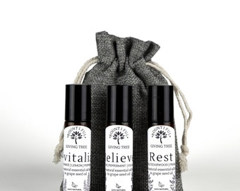 Set of 3 Essential Oil Roll-Ons, Organic Essential Oils, Essential Oil Rollers, Natural Remedies, Natural Healing, Aromatherapy, diffuser