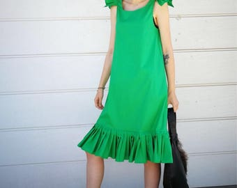 NEW Ruffle Dress / Green Ruffle Dress / Sleeveless Dress by FabraModaStudio / D139