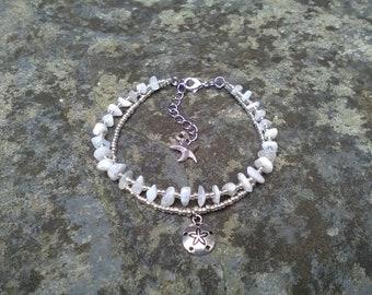 moonstone anklet, starfish anklet, pansy shell anklet, sand dollar anklet, gemstone anklet, bohemian anklet, crystal anklet, gift for her