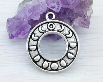 Moon Phase Charm, Moon Charm, 5 10 or 20 pcs, Antique Silver, Wicca Charm, Moon Pendant, New Age, Astronomy Charm, CH109
