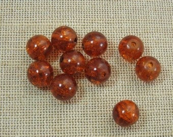 15pcs round beads, glass beads, Crackle beads, Brown beads, set of 15 beads, round beads 10mm, brown glass bead, create jewelry