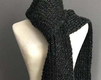 Knit Scarf, Scarf, Chunky Knit Scarf, black scarf, gray scarf, sparkly scarf,