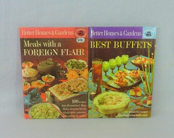 1963 Best Buffets & Meals with a Foreign Flair - Lot of 2 Better Homes and Gardens Creative Cooking Library Vintage 1960s Cookbook Cook Book