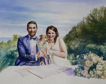 Couple Portrait Art Wedding Portrait Art. Watercolor Painting from Photo Custom Wedding Gifts. Personalized Wedding Painting Custom Portrait