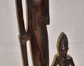 Vintage Carved African Ebony Wood Statues Set of Two-1960's