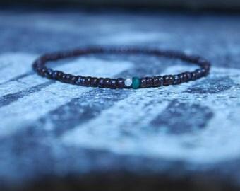 Mens Bracelet Beaded - Men's Green Onyx Bracelet - Karen Hill Tribe Silver nugget bead, Mens gift for him Husband Gift , Mens Seed Bead