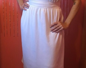 Vintage 70's white dress extra large/cap sleeve dress