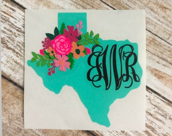 Floral Texas Monogram Decal   Texas Monogram Decal   Personalized Decal   Monogram Decal   Yeti Decal   Car Decal   Vinyl Decal