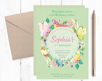 Butterfly Invitation Etsy - Butterfly birthday invitation images