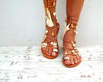 Afrodite, Bridal  sandals, White Beach Wedding Sandals, Ivory fringe, Gold pearl sandals, Greek Sandals, Gladiator genuine leather shoes