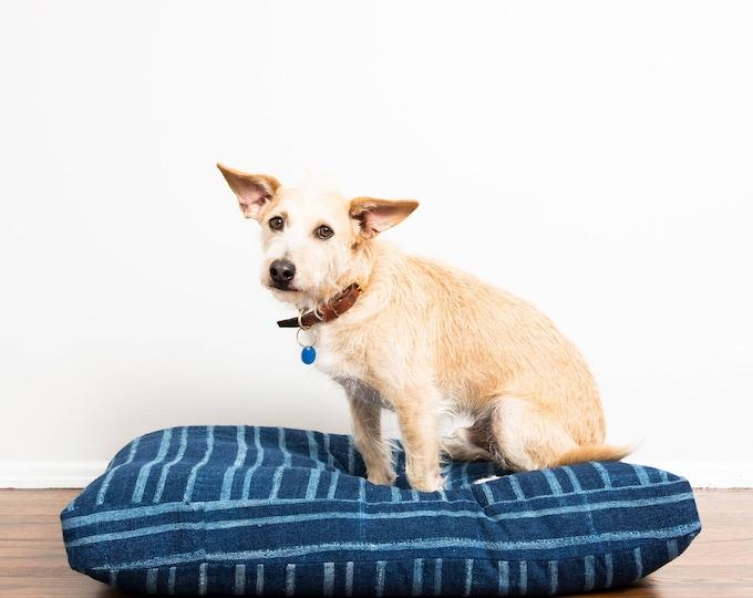Indigo Striped Mudcloth Dog Bed // Medium