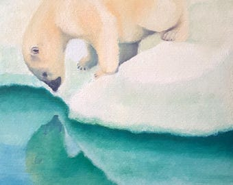 Oil painting, polar bear who is reflected in the water, nursery decor idea, children room decoration, new grandson or nephew, birth gift.