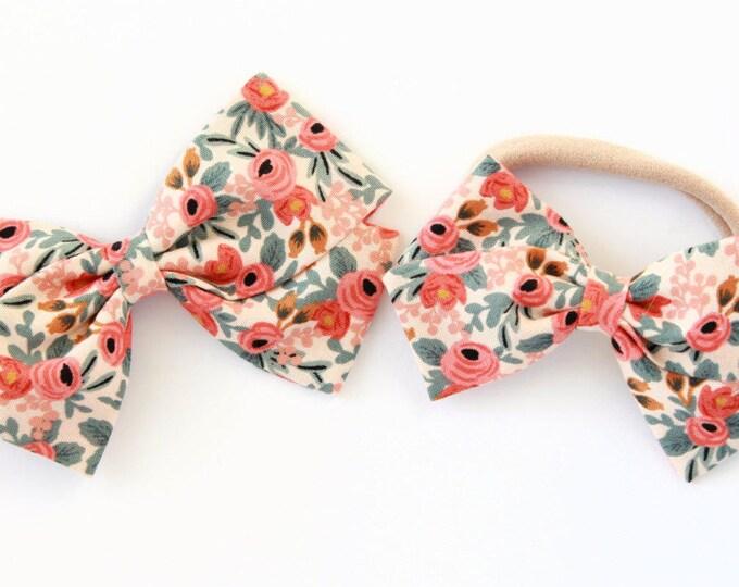 Rifle Paper Bow - Rosa Peach Hair Bow For Girls - Nylon Headband or Hair Clips